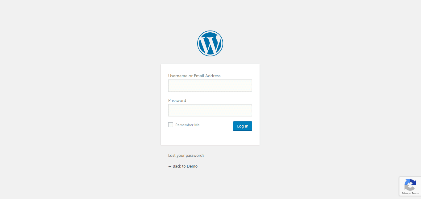 Invisible reCAPTCHA plugin active on login form page