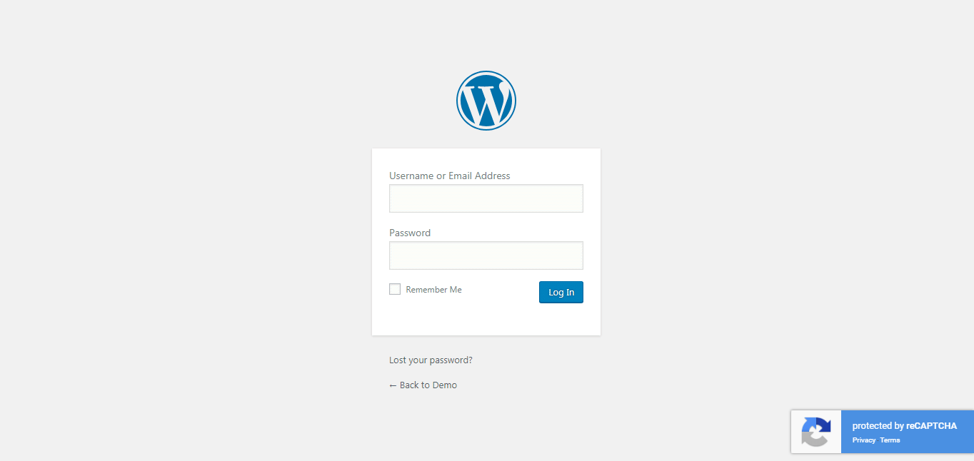 Invisible reCAPTCHA plugin state on protected login page